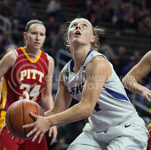 Junior guard Kindred Wesemann looks for the basket on Nov. 9, 2015 at Bramlage Colisuem.  Wesemann brought down a total of 23 points in the game against Pitt State.  (Rodney Dimick | The Collegian)