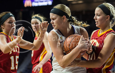 Sophomore guard Shaelyn Martin fights for the ball in the game against Pitt State on Nov. 9, 2015 at Bramlage Coliseum.  The Gorillas made the Wildcats earn their 58-50 win.  (Rodney Dimick | The Collegian)