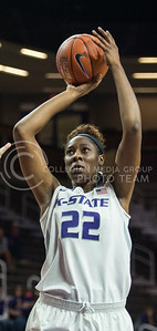Junior forward Breanna Lewis pops a shot in the game against Pitt State on Nov. 9, 2015 at Bramlage Coliseum.  The Cats beat the Gorillas 58-50.  (Rodney Dimick | The Collegian)