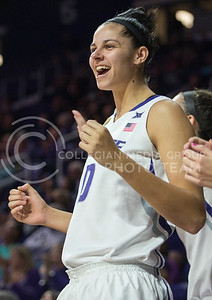 Junior forward Jessica Sheble cheers on her teammates as the Wildcats come back against the Gorillas on Nov. 9, 2015 at Bramlage Coliseum.  K-State brought out a 58-50 win against Pitt State.