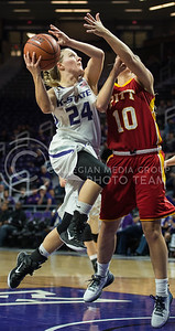 Junior guard Kindred Wesemann launches toward the basket in the game against Pitt State on Nov. 9, 2015 at Bramlage Coliseum.  Wesemann cashed in a total of 23 points in the last preseason game.  (Rodney Dimick | The Collegian)