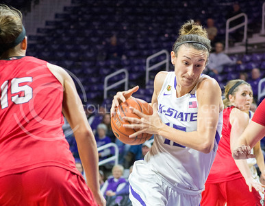 Senior guard Megan Deines passes around South Dakota players during the women's basketball game against South Dakota University on Nov. 19, 2015 in Bramlage Coliseum. (Cassandra Nguyen | The Collegian)