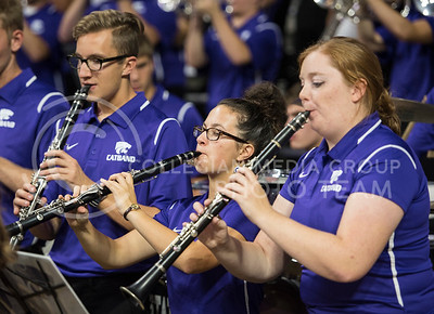 Band members move and play before the women's game against Washburn on Nov. 2, 2015 at Bramlage Coliseum.  (Rodney Dimick | The Collegian)