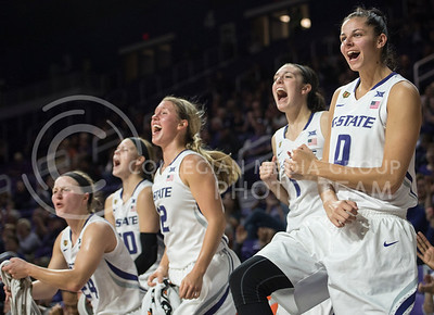 Junior forward Jessica Sheble along with her teammates shout after a recent score on Nov. 2, 2015 at Bramlage Coliseum.  The Cats stomped WU 75-48.  (Rodney Dimick | The Collegian)