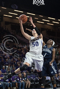 Sophomore guard Shaelyn Martin stretches to lay up the ball on Nov. 2, 2015 at Bramlage Coliseum.  Martin brought in a total of six assits in the game against WU.  (Rodney Dimick   The Collegian)