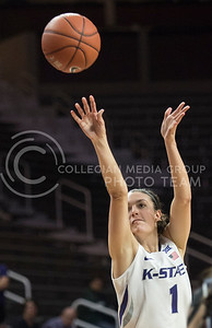 Sophomore forward Kaylee Page shoots the ball in the game against WU on Nov. 2, 2015 at Bramlage Coliseum.  Washburn lost against K-State 75-48.  (Rodney Dimick | The Collegian)