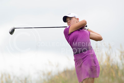 Paige Nelson, junior, tees off of hole 6 during the Marilynn Smith / Sunflower Invitational at Colbert Hills on Sep. 8, 2015. Nelson made the highlight of the day with a hole-in-one on the 8th hole. (Evert Nelson | The Collegian)