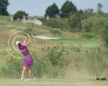 Katherine Gravel-Coursol, junior, tees off of hole 3 at Colbert Hills during the the Marilynn Smith/Sunflower Invitational on Sep. 8, 2015. (Evert Nelson | The Collegian)