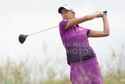Scotland Preston, Senior, watches her ball after teeing off of hole 6 at Colber Hills during the 2015 Marilynn Smith/Sunflower Invitational on Sep. 8, 2015. (Evert Nelson   The Collegian)