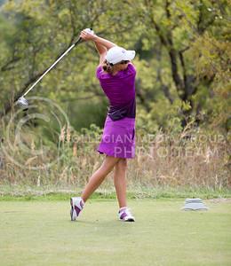 Scotland Preston, senior, tees off of hole 15 during the Marilynn Smith/Sunflower Invitatoinal at Colbert Hills Golf Course on Sep. 8, 2015. (Emily Starkey   The Collegian)