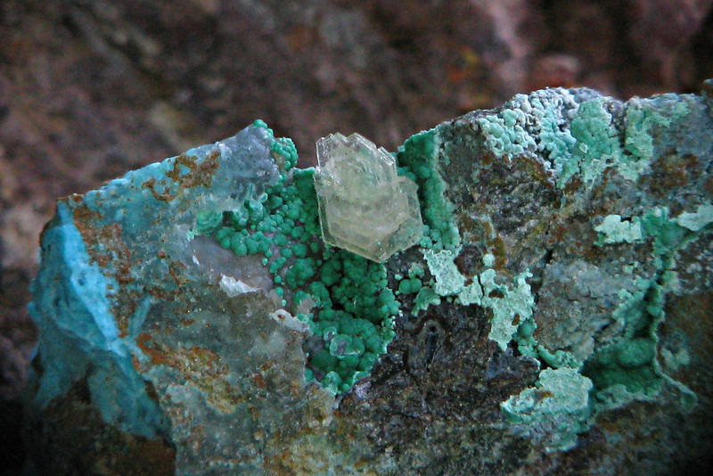 Barite, malachite & chrysocolla from the Planet Mine