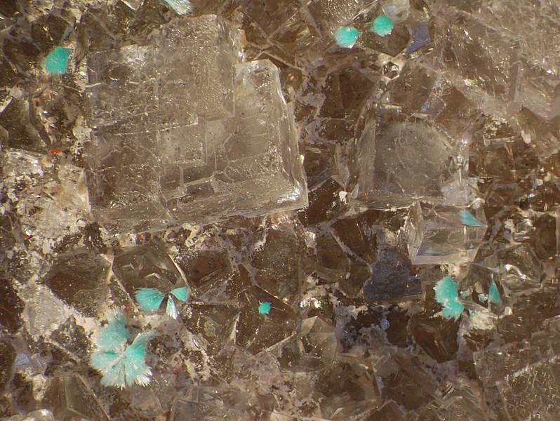 McCracken mine, aurichalcite on fluorite