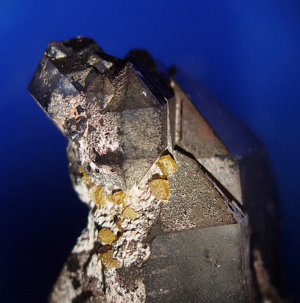 Yellow stolzite on smoky quartz from the Fat Jack mine. Collected 7-11-2009. FOV about 15mm.