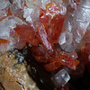 Vanadinite & calcite from the Grayhorse mine, FOV about 9mm