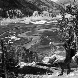 Jesse on the way to Treasure Lakes, High Sierra