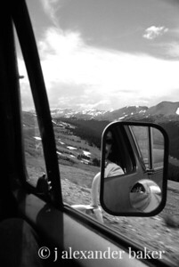me in the mirror in the mirror - cresting the rockies, Rocky Mt. National Park, CO 1976 - 35mm slide scan