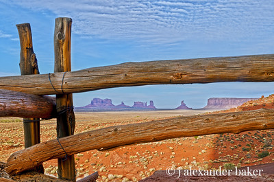 View through fence at Goulding's Lodge, Monument Valley, Navajo Nation, USA