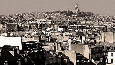 Parisian Rooftops and Sacre Coeur from Pompedeau Center, Paris