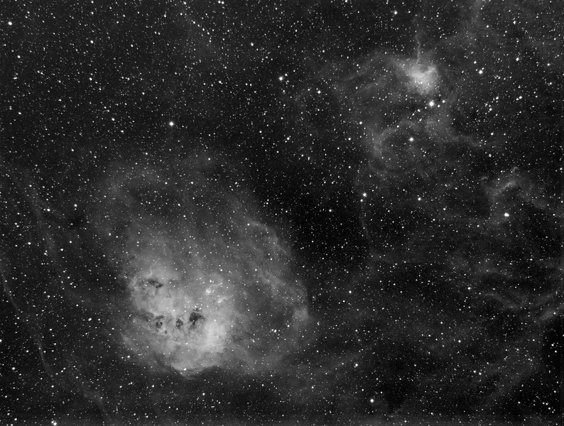 IC405 nebula, a very faint nebula. Approx 3.5 hours of Ha exposure 10-29-11 in sherman oaks ca<br /> <br /> SBIG 8300m with astrodon Ha 5nm filter. <br /> Losmandy G-11 with Gemini II<br /> Takahashi Sky 90 with f4.5 focal reducer