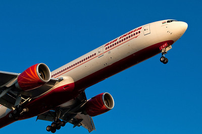 777-300 with Air India's new paint scheme. Heathrow 2009.