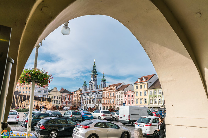 Medieval archway frames the central square in Ceske Budejovice