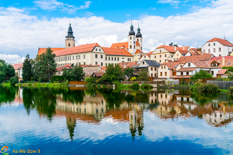 Ponds reflecting Telc Castle