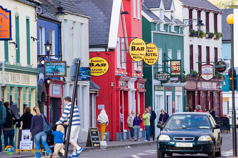 Tourists on a street in Dingle, Ireland