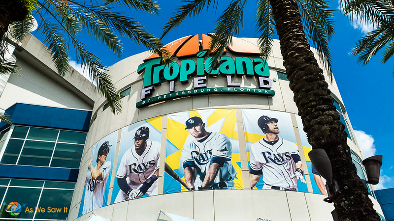 Front of Tropicana Field baseball stadium in St. Peterburg, Florida