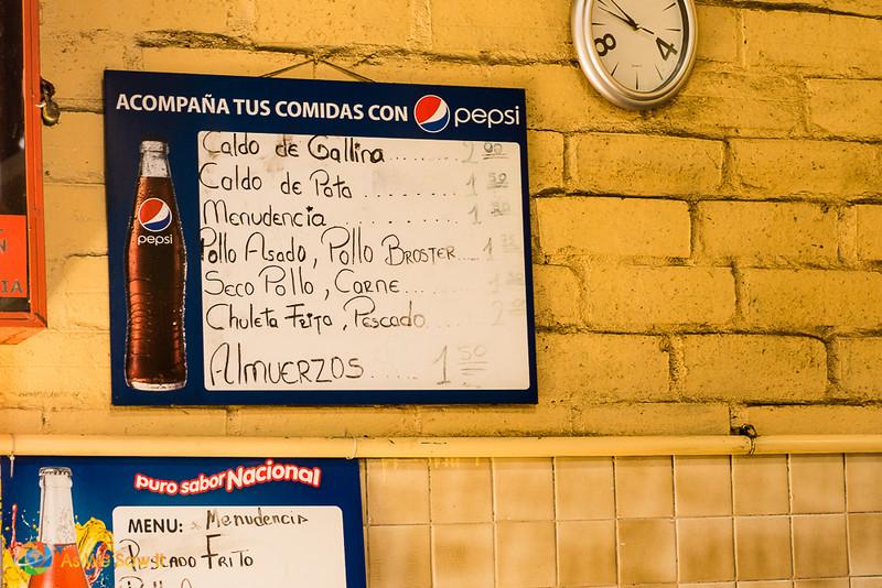 Almuerzo menu in Feria Libre. Chicken soup, $2.