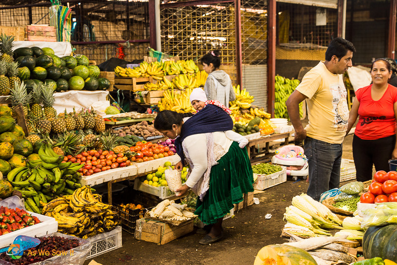 A woman with a baby on her back bends over to select her vegetables at a stall in Feria Libre Cuenca Ecuador
