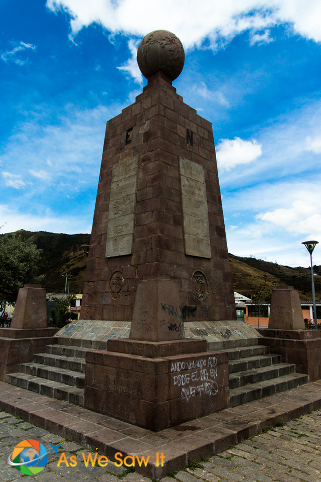 "Original 1936 monument erected in Calacalí, Ecuador to mark the ""real equator line."""
