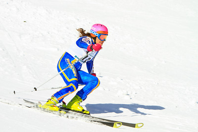 A ski racer races down a salom course.