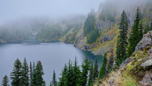 Rachel Lake in the mist and fog