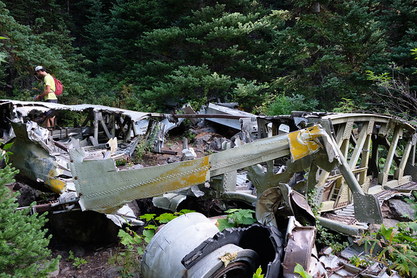 R. looking at some of the wreckage