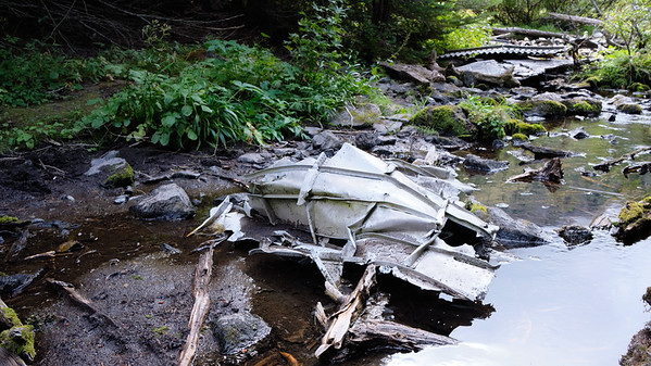 Wreckage in the stream