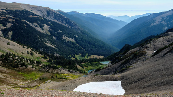 Looking down into the tarns of Grand Valley