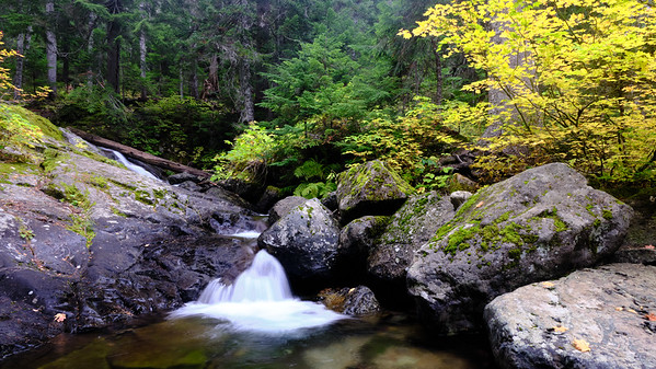 A waterfall among fall colors