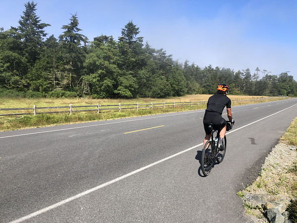 Ryan riding from the ferry to Coupeville