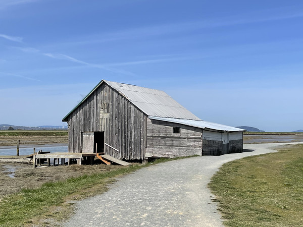 Old barn on the gravel trail