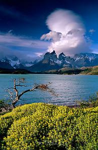 Lago Pehoe y Cuernos del Paine al atardecer. P.N. Torres del Paine, Patagonia, Chile