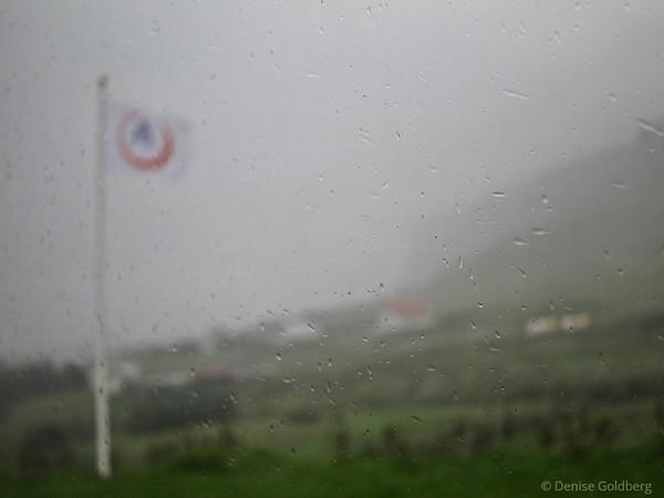 rain & mist, outside of the hostel in Vik