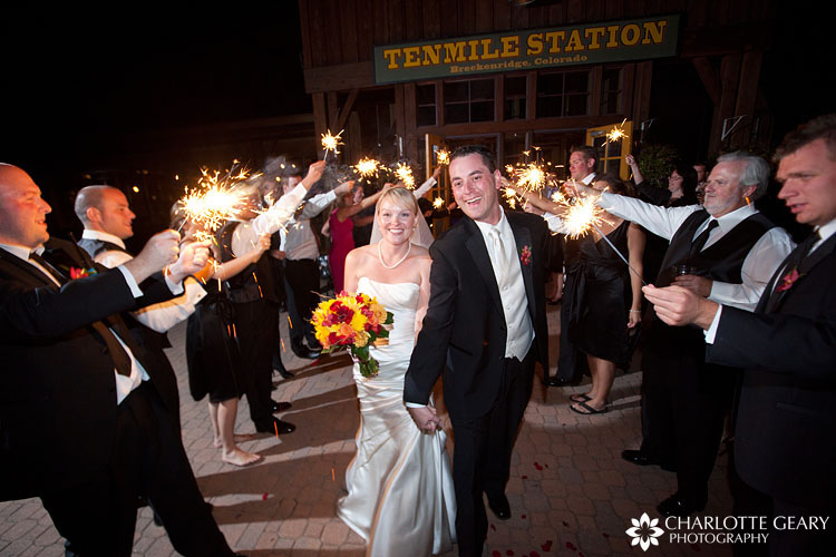 Wedding sparkler departure