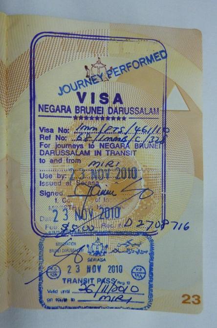 Brunei passport stamp