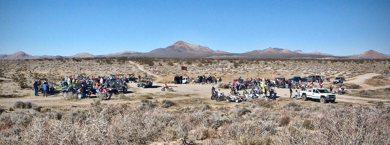 Thanksgiving weekend crowd at the Jim Erickson Husky Memorial in the Cuddeback area of the Mojave desert, California