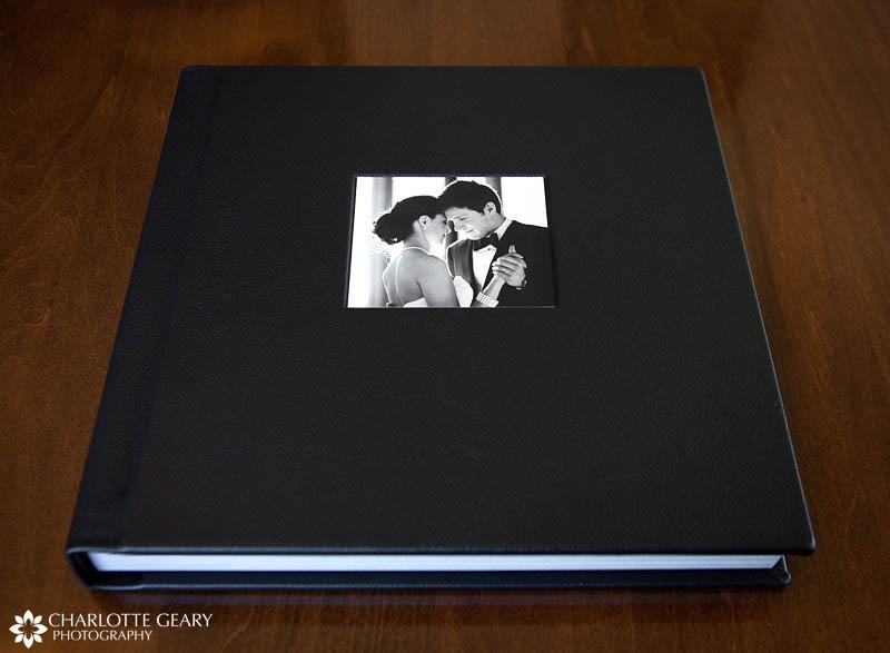 Black leather flushmount wedding album