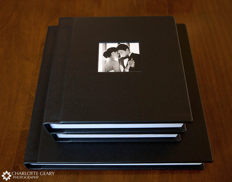 Black leather wedding albums