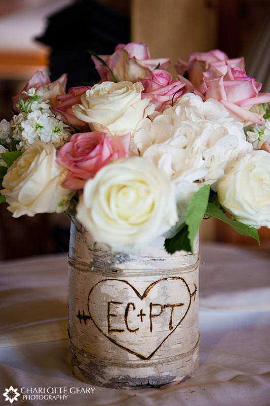Names carved in bark for centerpiece