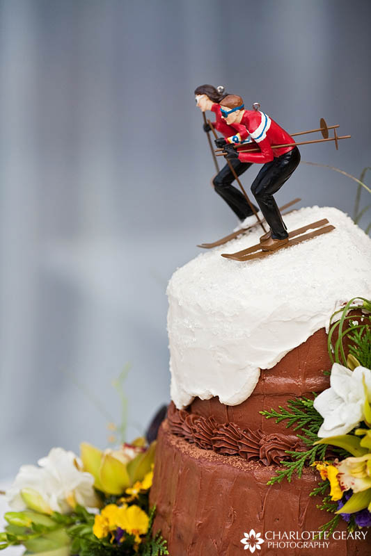 Ski wedding cake topper