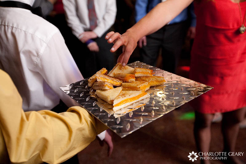Grilled cheese snacks at wedding