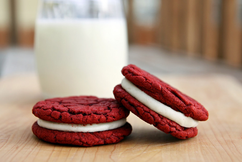 Red velvet sandwich cookies from Let's Dish